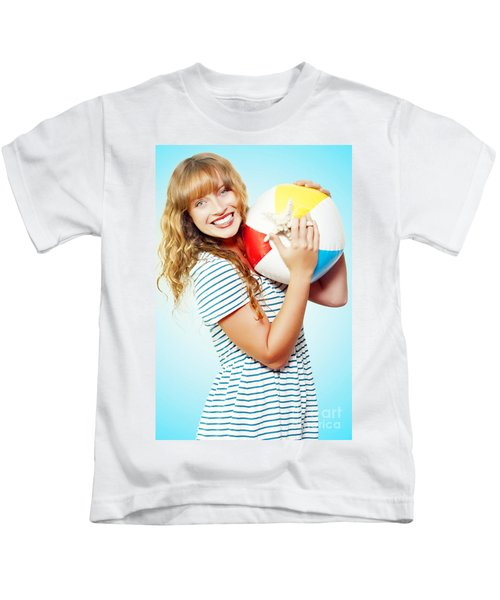 Excited Woman On A Fun Tropical Vacation Kids T-Shirt