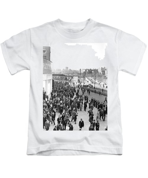Fans Leaving Yankee Stadium. Kids T-Shirt by Underwood Archives