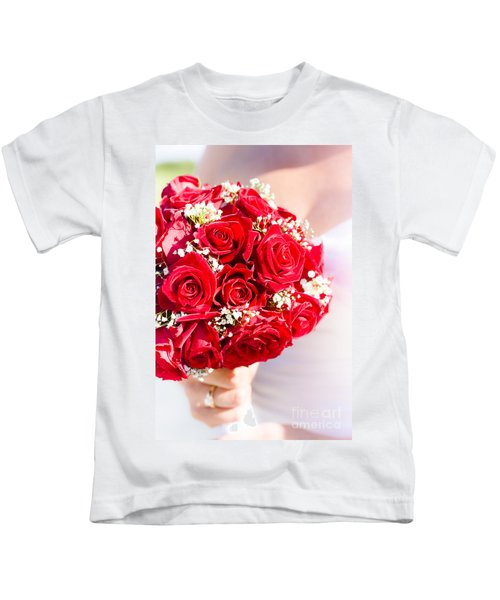 Floral Rose Boquet Held By Bride Kids T-Shirt