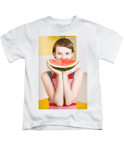 Funny Woman With Juicy Fruit Smile Kids T-Shirt
