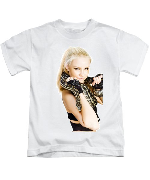 Gorgeous Blonde Snake Handler Kids T Shirt