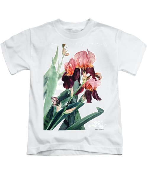 Watercolor Of A Pink And Maroon Tall Bearded Iris I Call Iris La Forza Del Destino Kids T-Shirt