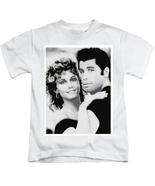 Olivia Newton John And John Travolta In Grease Collage Kids T-Shirt