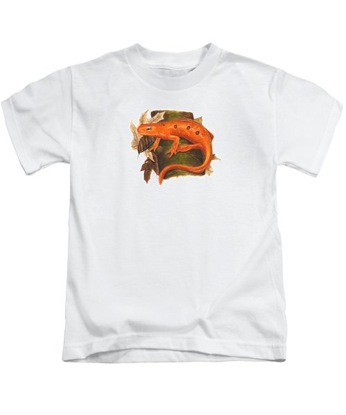 Red Eft Kids T-Shirt by Cindy Hitchcock