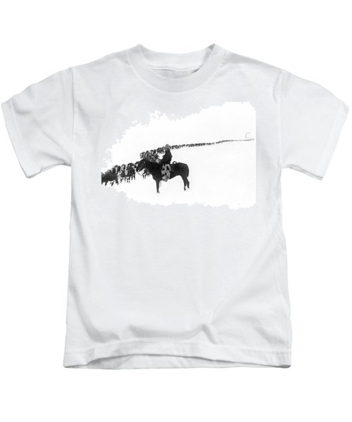 Wintertime Cattle Drive Kids T-Shirt