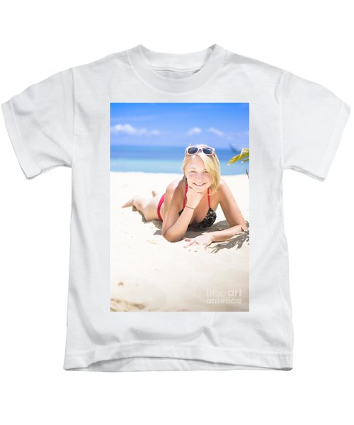 Woman On A Happy And Relaxing Holiday Break Kids T-Shirt