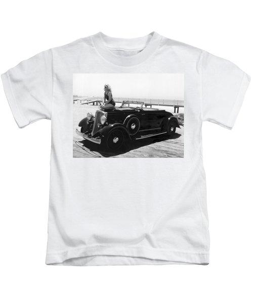 Woman On A Hupmobile Kids T-Shirt