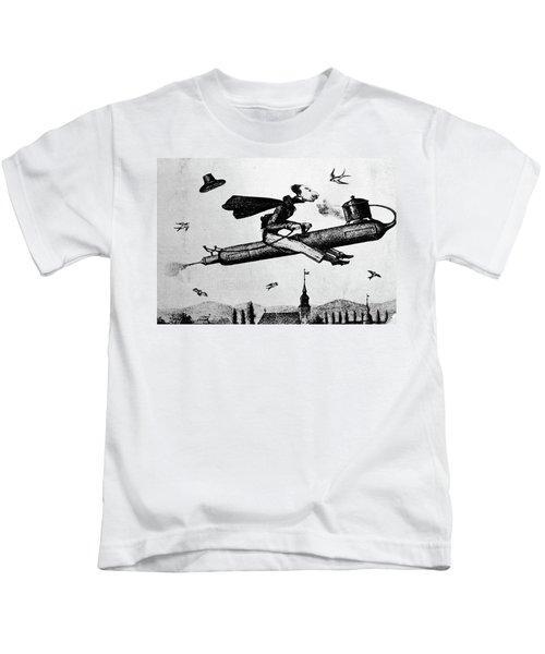 1840s 1800s Illustration Cartoon Of Man Kids T-Shirt