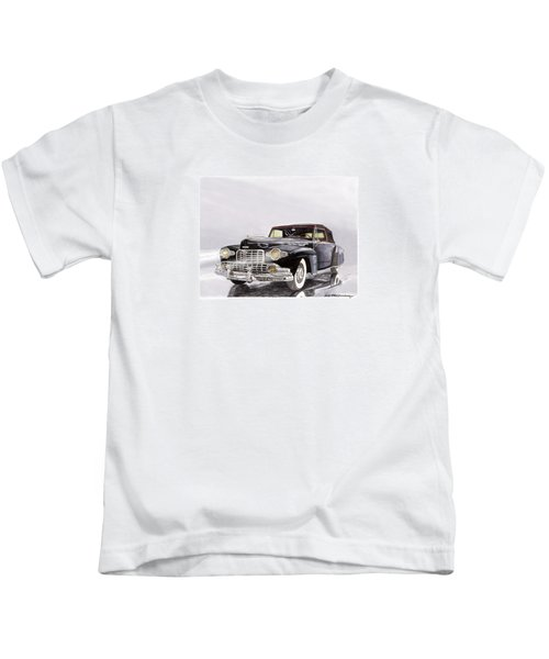 1946 Lincoln Continental Convertible Foggy Reflection Kids T-Shirt by Jack Pumphrey