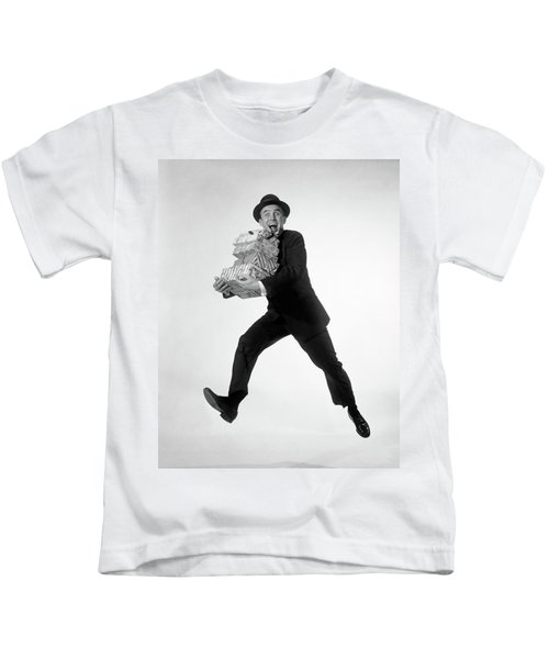 1960s Excited Enthusiastic Man Jumping Kids T-Shirt