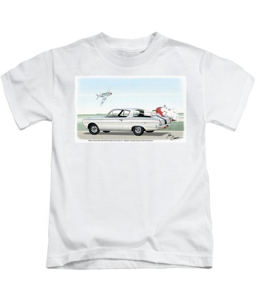 1965 Barracuda  Classic Plymouth Muscle Car Kids T-Shirt by John Samsen