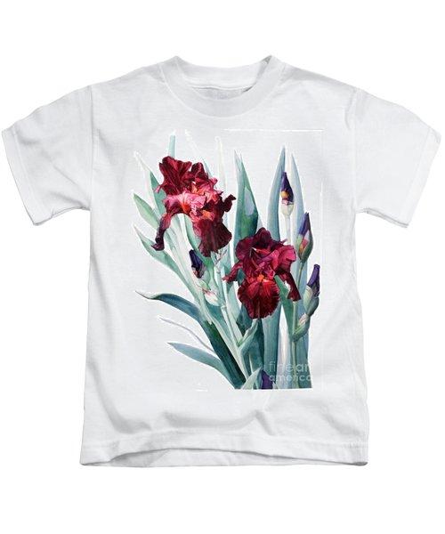 Dark Red Tall Bearded Iris Donatello Kids T-Shirt