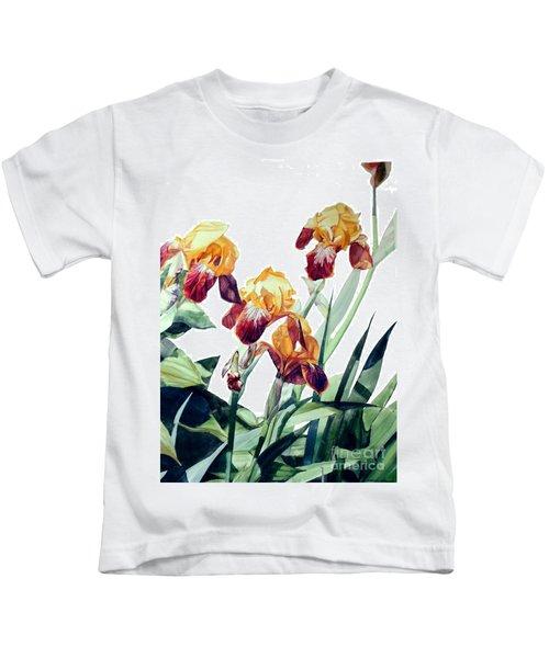Watercolor Of Tall Bearded Irises I Call Iris La Vergine Degli Angeli Verdi Kids T-Shirt