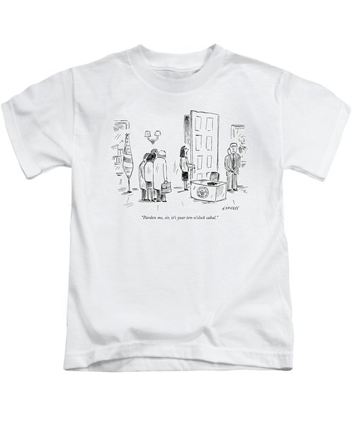 Pardon Me, Sir, It's Your Ten-o'clock Cabal Kids T-Shirt by David Sipress