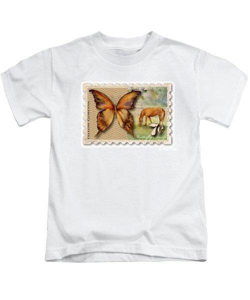 7 Cent Butterfly Stamp Kids T-Shirt by Amy Kirkpatrick