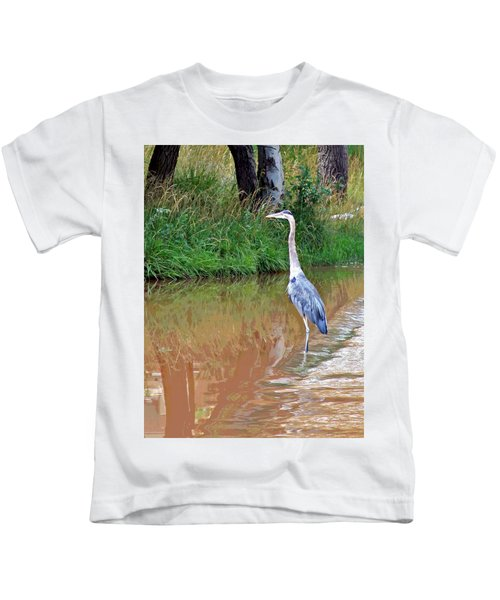 Blue Heron On The East Verde River Kids T-Shirt