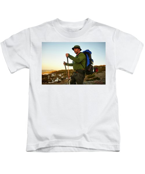A Backpacker Hiking Kids T-Shirt