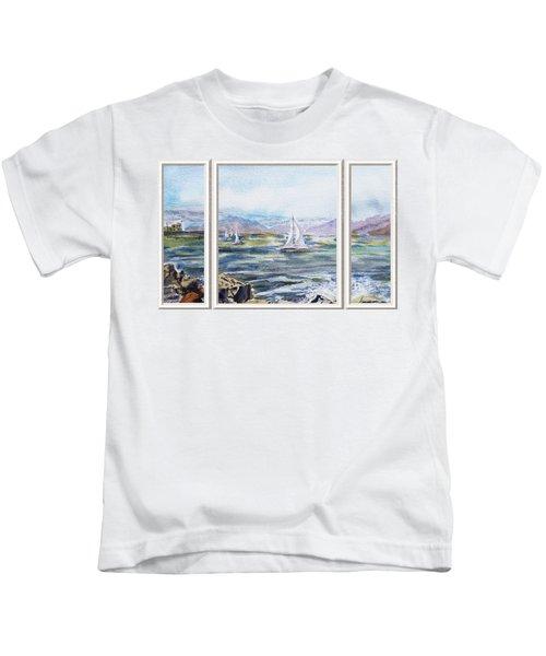 A Bay View Window Rough Waves Kids T-Shirt