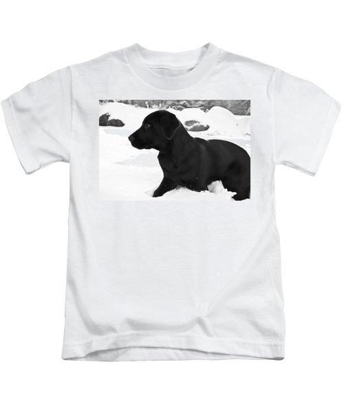 A Black Labrador Retriever Puppy Plays Kids T-Shirt