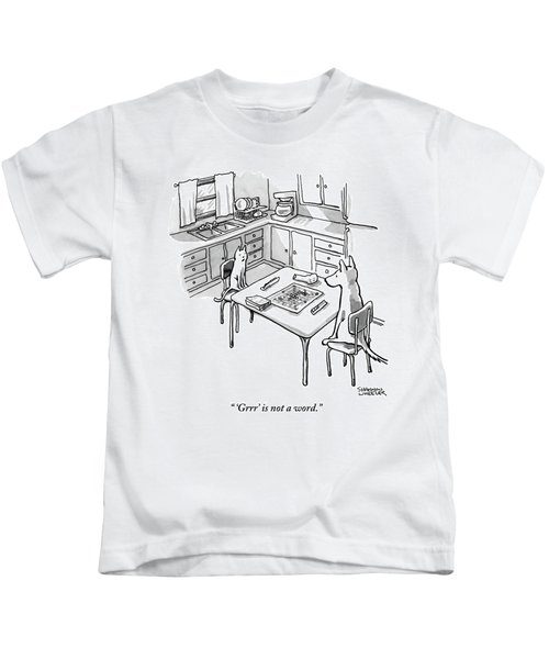 A Cat And Dog Play Scrabble In A Kitchen. 'grrr' Kids T-Shirt