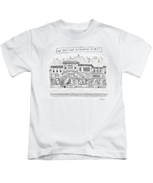 A City Block Is Full Of Buildings With Glass Kids T-Shirt