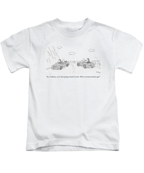 A Couple Driving In A Car Are Speaking Kids T-Shirt