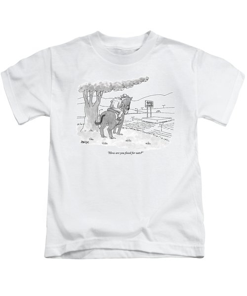 A Cowboy In The Saddle Addresses His Horse Kids T-Shirt