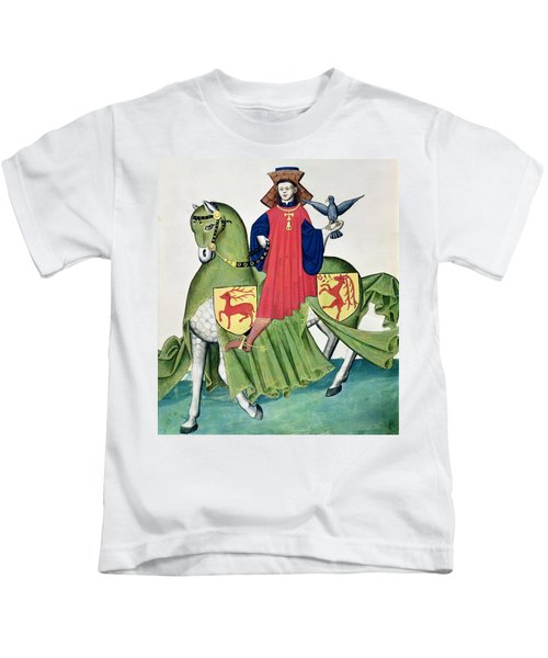 A Falconer, From Codex De Capodilista Vellum Kids T-Shirt