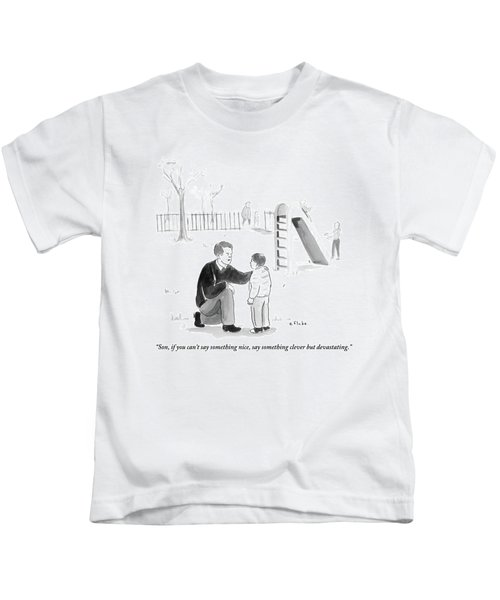 A Father Encourages His Son At The Playground Kids T-Shirt