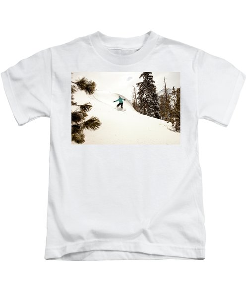 A Female Snowboarder Lays Out Some Kids T-Shirt