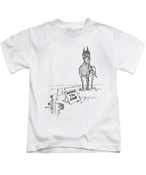 A Horse Approaches A Large Crack In The Ground Kids T-Shirt