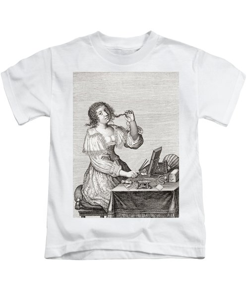 A Lady At Her Toilette, After A 17th Century Engraving By Le Blond.  From Illustrierte Kids T-Shirt