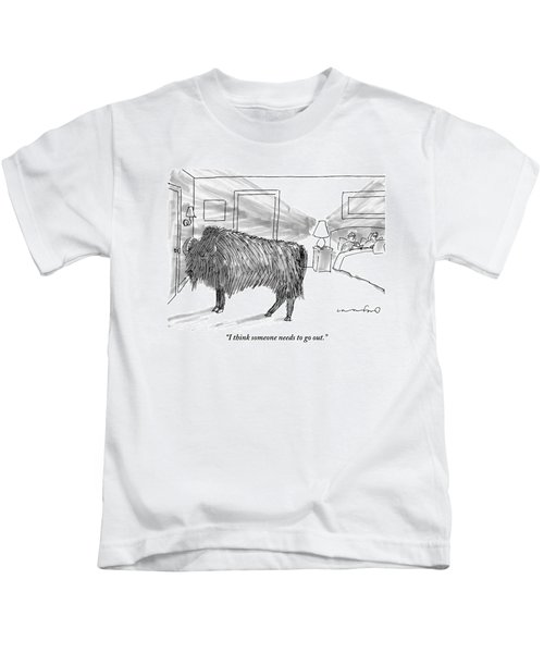 A Large Buffalo Stands Near The Door Kids T-Shirt
