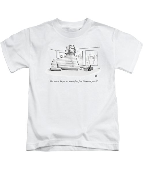 A Large Sphinx Sits In Front Of A Desk Kids T-Shirt