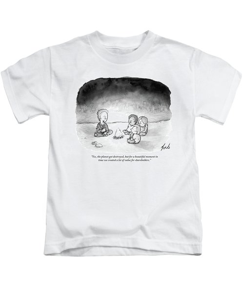 A Man And 3 Children Sit Around A Fire Kids T-Shirt