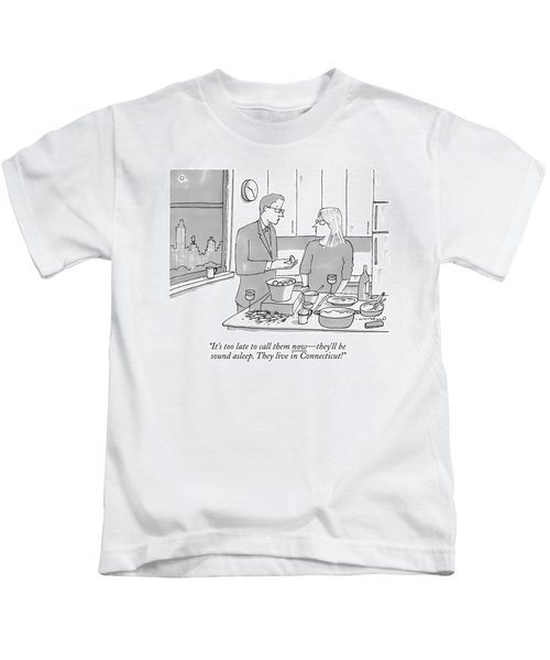 A Man And Wife Stand In The Kitchen Kids T-Shirt