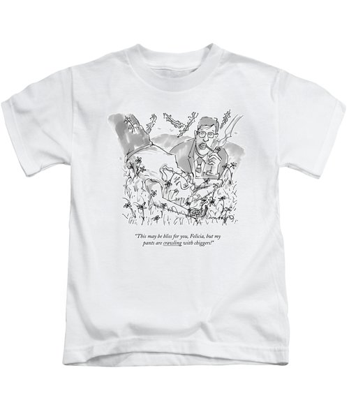 A Man And Woman Lay In The Grass Kids T-Shirt