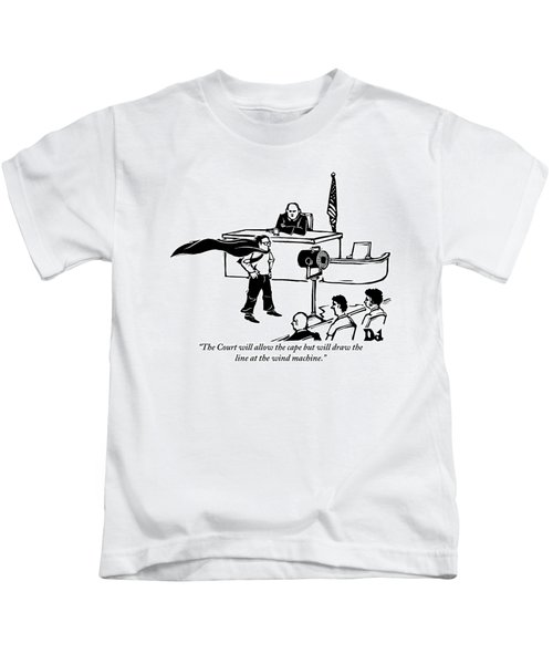 A Man Is Seen Wearing A Cape Next To A Wind Kids T-Shirt