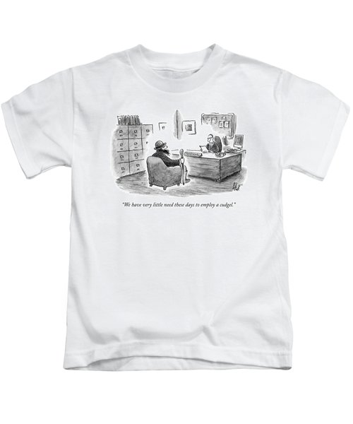 A Man Sits Across From A Personnel Desk Kids T-Shirt