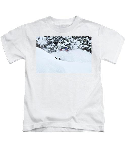 A Man Skis On Teton Pass In Wyoming Kids T-Shirt