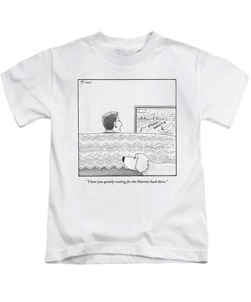A Man Watches His Football Team Take Kids T-Shirt