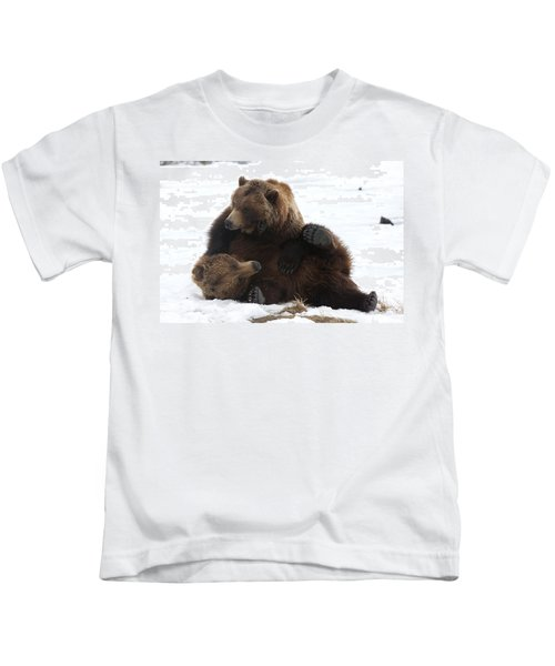 A Pair Of Adult Brown Bears Wrestle Kids T-Shirt