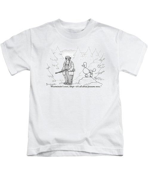 A Rough-looking Man Holding A Shotgun Speaks Kids T-Shirt