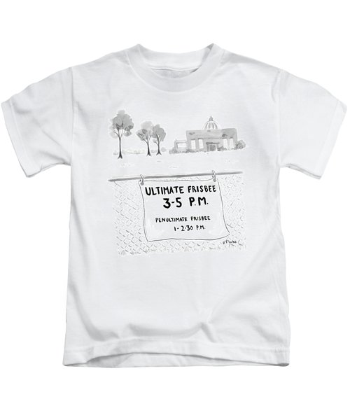A Sign On A Fence Reads: Ultimate Frisbee 3-5 Pm Kids T-Shirt
