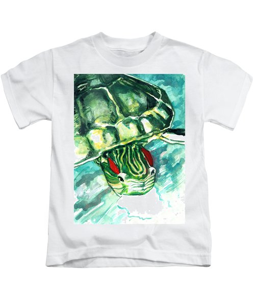 A Turtle Who Likes To Eat Fish Kids T-Shirt