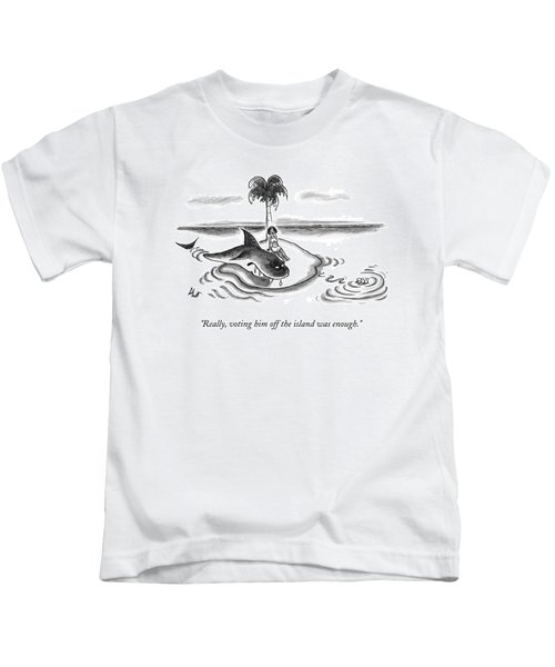A Woman Is Seen On A Deserted Island With A Shark Kids T-Shirt