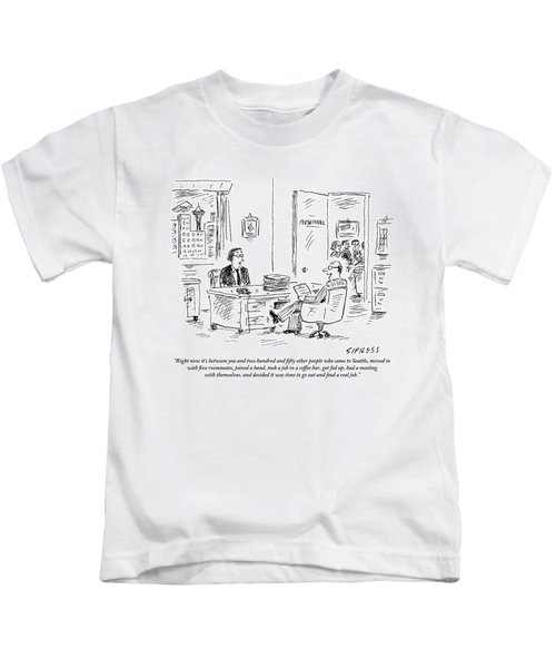 A Young Job Applicant Sits In Front Kids T-Shirt