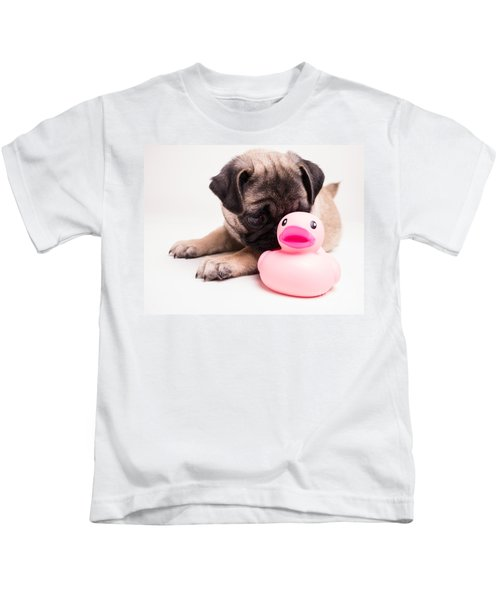Adorable Pug Puppy With Pink Rubber Ducky Kids T-Shirt