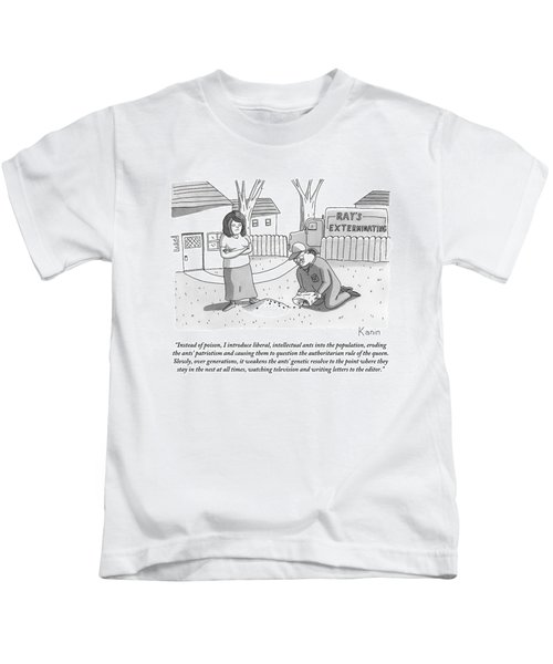 An Exterminator Explains What He Is Doing Kids T-Shirt by Zachary Kanin