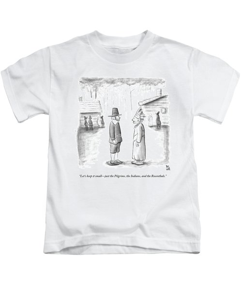 An Indian Chief Speaks To A Pilgrim Kids T-Shirt